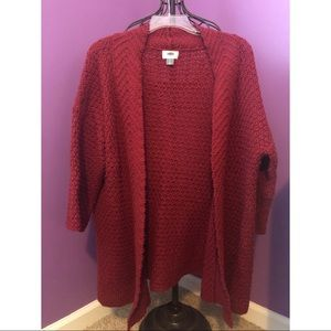 Red Old Navy Cardigan Sweater